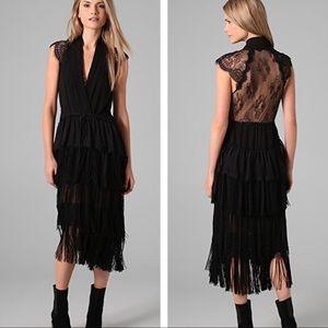 Of Two Minds Dasy silk fringe lace dress black L